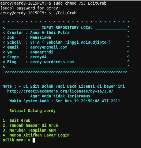 C Ana Arthdi Putra  Contoh Script Buat Para Development Linux File Ini Adalah Public Domain Silahkan Mendistribusikan Kembali